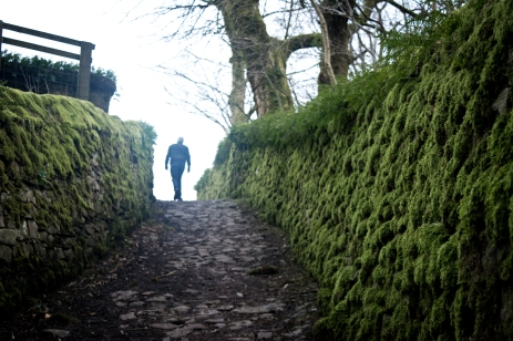Footpath through a small village in Yorkshire Dales
